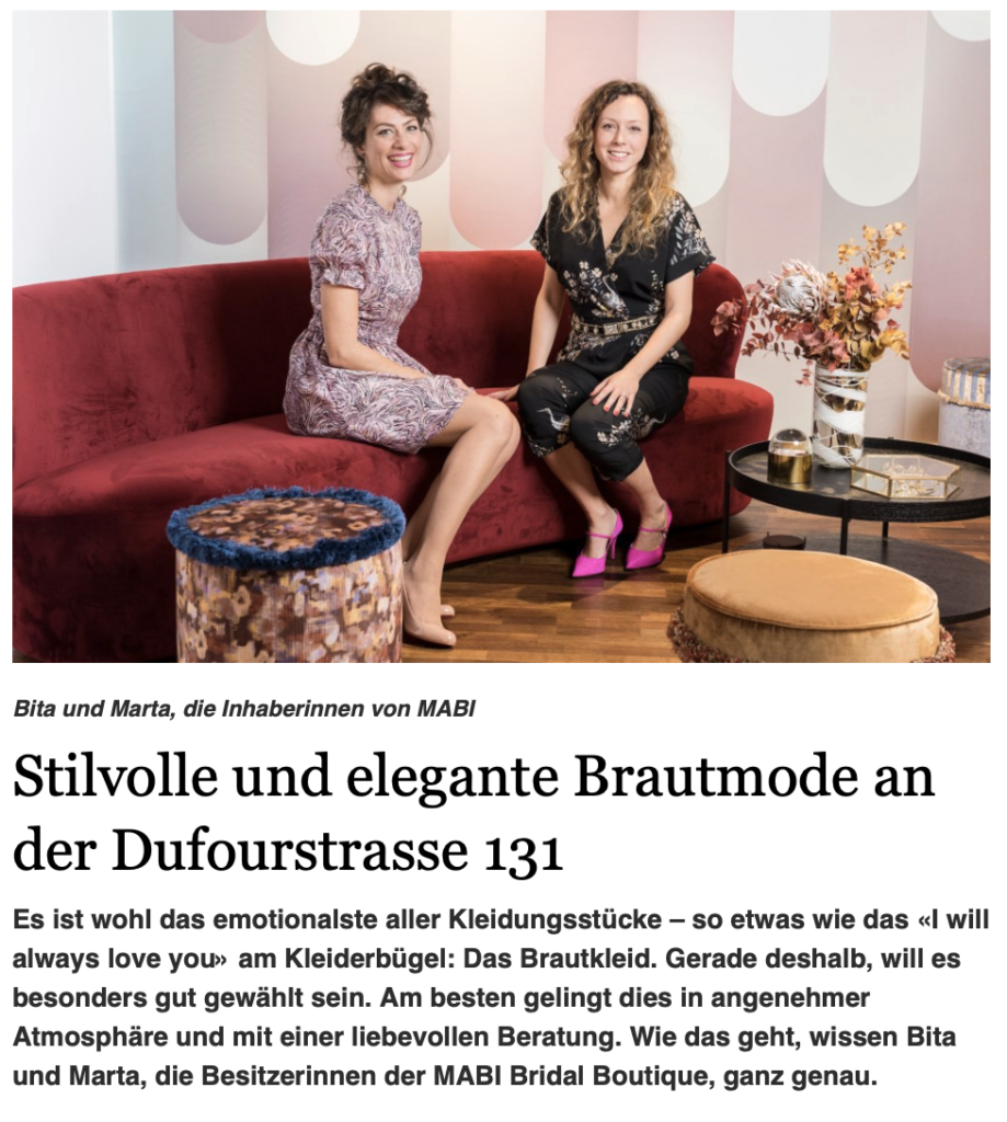 Article about MABI in Magazin Kreis 8 article  Brautmode