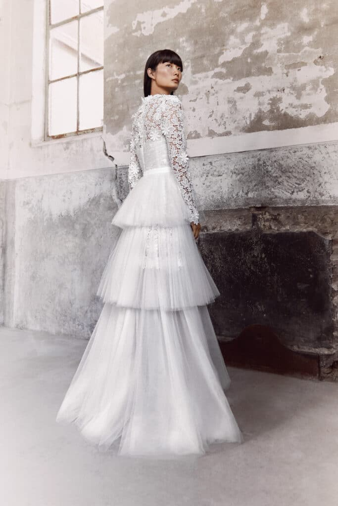 BLOOMING LACE TIERED GOWN